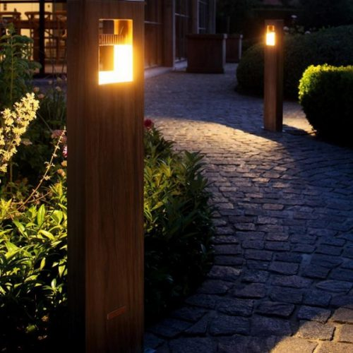 Log tuinlamp teak buitenlamp hardhout led Royal Botania